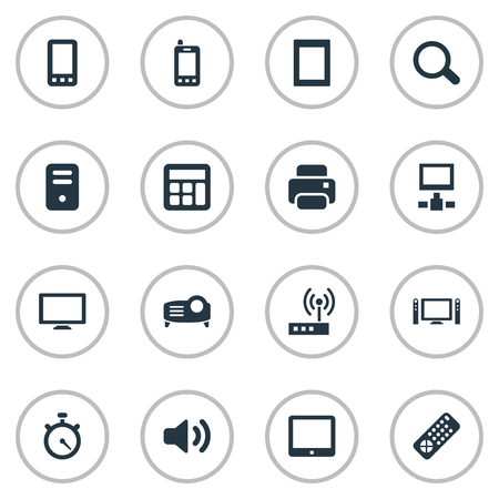Vector Illustration Set Of Simple Device Icons. Elements Switch, Touch Computer, Controller And Other Synonyms Photocopier, Cpu And Screen.