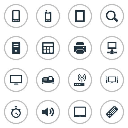 Vector illustratie Set van eenvoudige apparaatpictogrammen. Elementen schakelen, aanraken van computer, controller en ander synoniemenkopieerapparaat, Cpu en scherm. Stock Illustratie