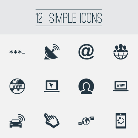 Vector Illustration Set Of Simple Web Icons. Elements Website, Sputnik Signal, Internet And Other Synonyms Internet, Parole And Telephone.