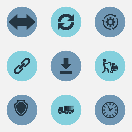 Vector Illustration Set Of Simple Engineering Icons. Elements Cycle, Period, Employee And Other Synonyms Link, Cogwheel And Gear. Illustration