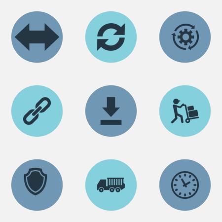Vectorillustratiereeks Eenvoudige Techniekpictogrammen. Elementencyclus, Periode, Werknemer en andere synoniemenkoppeling, tandrad en uitrusting. Stock Illustratie
