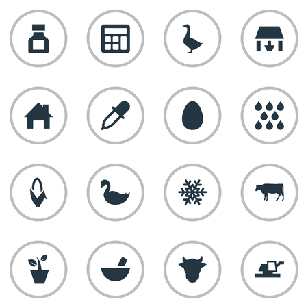 Vector Illustration Set Of Simple Agricultural Icons. Elements Flowerpot, Cow, Medicament And Other Synonyms Accounting, Plant And Goose.