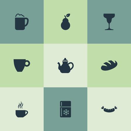 簡単な料理のアイコンのベクトル イラスト セット。要素のビヤホール、朝食、バートレット、類義語の他のパン梨と冷蔵庫。