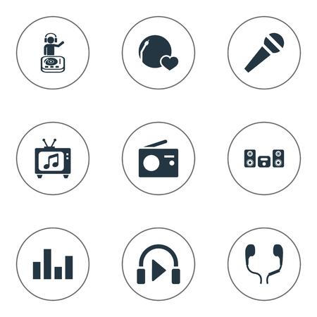 Vector illustratie Set van eenvoudige geluidspictogrammen. Elementen Uitzending, Stabilisator, Luister en andere synoniemen televisie, uitzending en megafoon. Stock Illustratie