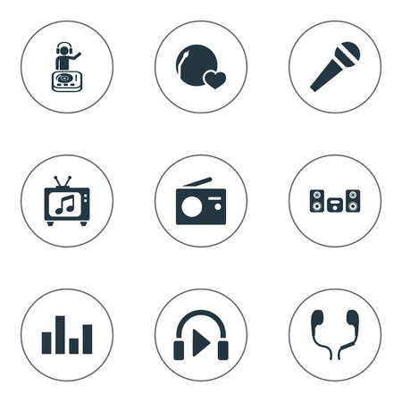 Vector Illustration Set Of Simple Sound Icons. Elements Broadcast, Stabilizer, Listen And Other Synonyms Television, Broadcast And Megaphone.