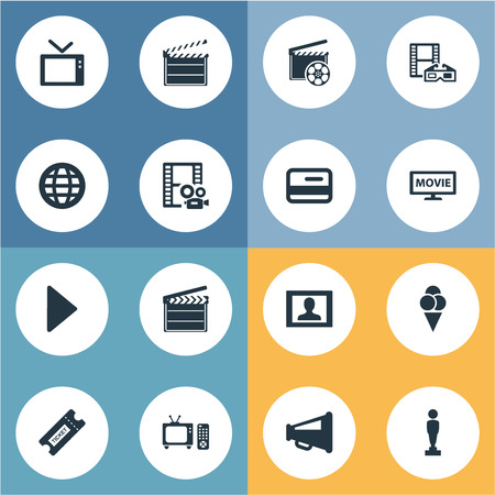 Vector Illustration Set Of Simple Movie Icons. Elements Television, Pass, Production And Other Synonyms Megaphone, Loudspeaker And Ice.