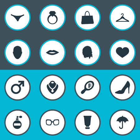 Vector Illustration Set Of Simple Glamour Icons. Elements Kiss, Purse, Fragrance And Other Synonyms Haircut, Handle And Purse.