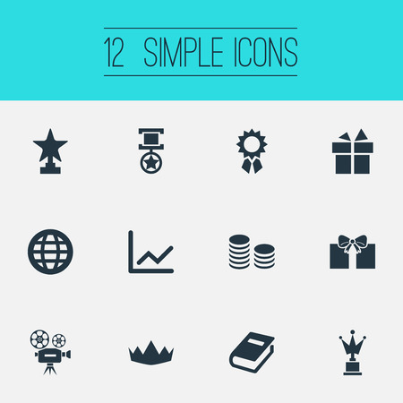Vector Illustration Set Of Simple Reward Icons. Elements Currency, Statistic, Victory And Other Synonyms Diagram, Camera And Reward.