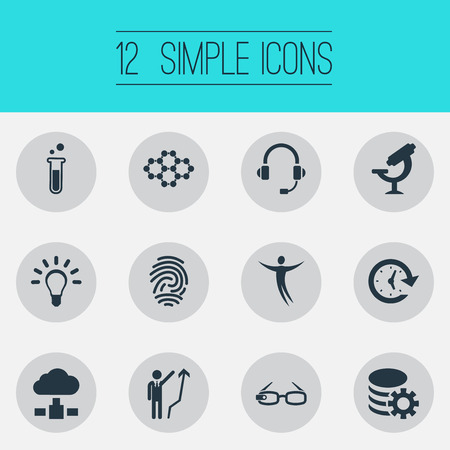 Vector Illustration Set Of Simple Creativity Icons. Elements Clock, Server, Idea And Other Synonyms Bulb, Communication And Manager. Illustration