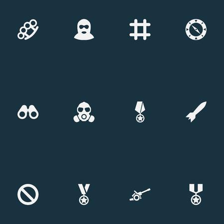벡터 일러스트 레이 션 간단한 전투 아이콘의 집합입니다. 요소 형무소, 테러리스트, 나침반 및 기타 동의어 보상, 쌍안경 및 보수.