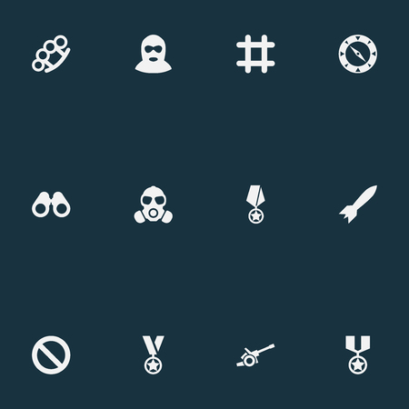 Vector Illustration Set Of Simple Battle Icons. Elements Prison, Terrorist, Compass And Other Synonyms Reward, Binoculars And Remuneration.