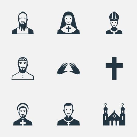 単純な信仰のアイコンのベクトル イラスト セット。要素メンディング、ユダヤ人の聖職者、十字架、他の同義語の聖職者の祝福とシナゴーグ。  イラスト・ベクター素材