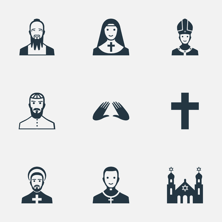 Vector Illustration Set Of Simple Faith Icons. Elements Orison, Jewish Clergy, Crucifix And Other Synonyms Clergy, Blessing And Synagogue.