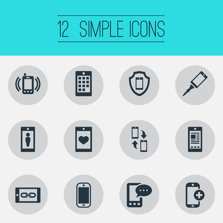 Vector Illustration Set Of Simple  Icons. Elements Soul On Phone, Media, Save And Other Synonyms Link, Smartphone And Call.