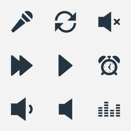 Vector Illustration Set Of Simple Sound Icons. Elements Alarm, Next, Silent And Other Synonyms Equalizer, Chart And Microphone. Illustration