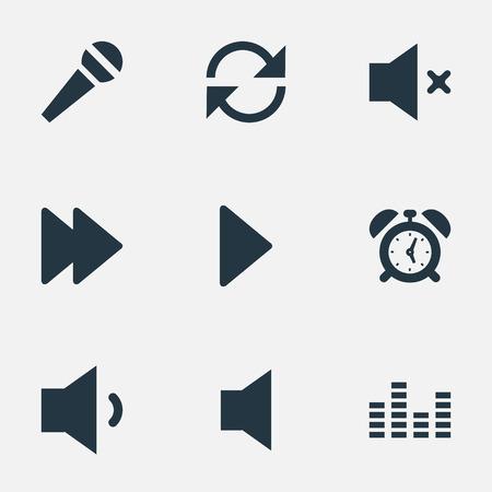Vector illustratie Set van eenvoudige geluidspictogrammen. Elements Alarm, Next, Silent And Other Synoniemen Equalizer, grafiek en microfoon. Stock Illustratie