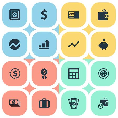 Conjunto de ilustração vetorial de ícones de dinheiro simples. Carteira de elementos, moeda, dinheiro e outra estatística de sinônimos, diagrama e comércio. Foto de archivo - 86225849
