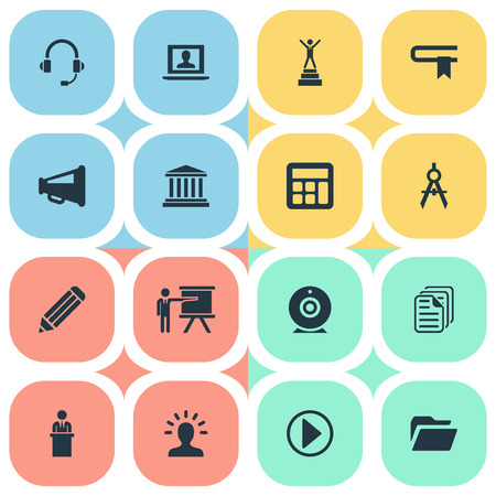 Vector Illustration Set Of Simple Training Icons. Elements Guidebook, Start, Orator And Other Synonyms Lecturer, Geometry And Guidebook. Illustration