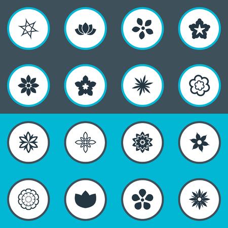 シンプルな桜のアイコンのベクトル イラスト セット。要素 Windflower、デルフィ ニウム、花屋、他の同義語のヒマワリ、サイプレス、ローズ。  イラスト・ベクター素材
