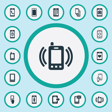 Vector Illustration Set Of Simple Telephone Icons. Elements New Version, Contact, Coupling Device And Other Synonyms Mail, Thumbprint And Parameters. Иллюстрация