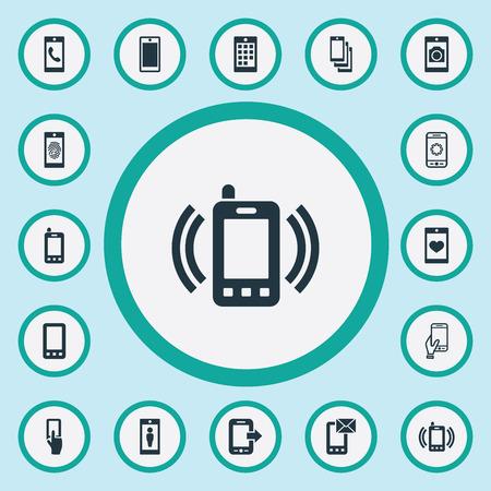 Vektor-Illustrations-Satz einfache Telefon-Ikonen. Elemente neue Version, Kontakt, Kopplungsgerät und andere Synonyme Mail, Fingerabdruck und Parameter. Standard-Bild - 86225859