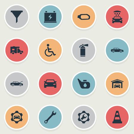 簡単な車両のアイコンのベクトル イラスト セット。要素スプリンクラー, 障害者, フィルター類義語ろ過、建物と水。  イラスト・ベクター素材