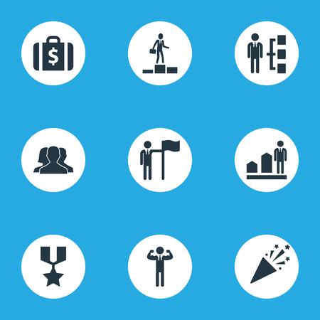 벡터 일러스트 레이 션 간단한 성공 아이콘의 집합입니다. 요소 성공한 사람, 성공, 돈 가방 및 다른 동의어 증가, 남자와 스파클.