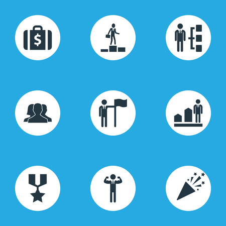 Vector Illustration Set Of Simple Success Icons. Elements Successful Person, Success, Money Suitcase And Other Synonyms Increase, Man And Sparkle.