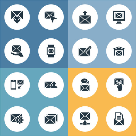 Vector Illustration Set Of Simple Message Icons. Elements Correspondence, Choose, Email And Other Synonyms Envelop, Pick And Envelope.