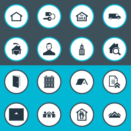 Vector Illustration Set Of Simple Real Icons. Elements Midtown, Trade, Hut And Other Synonyms Truck, Building And Heart.