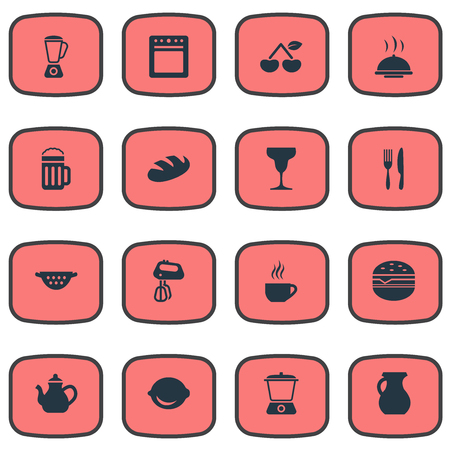 Vector Illustration Set Of Simple Gastronomy Icons. Elements Wheat, Juicer, Whisk And Other Synonyms Sandwich, Beer And Fruits.