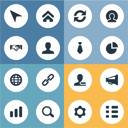 Vector Illustration Set Of Simple People Icons. Elements Remove Cantact, Agreement, Loudspeaker And Other Synonyms Globe, Tie And Internet. Illustration