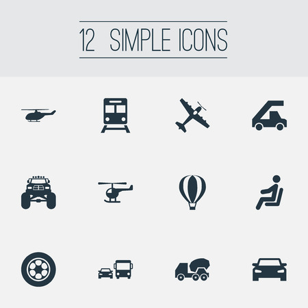 Vector Illustration Set Of Simple Transport Icons. Elements Helicopter, Airship, Cement Machine And Other Synonyms Chopper, Transport And Transportation. Illustration