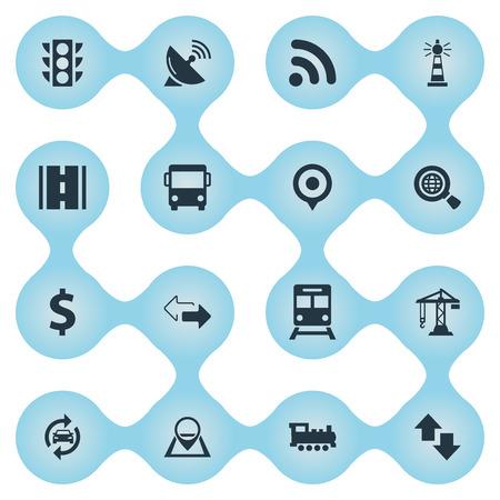 単純な交通機関アイコンのベクター イラスト セット。要素のレーダー、Wifi エリア、地下鉄、他の類義語の地理的アクセスと場所。