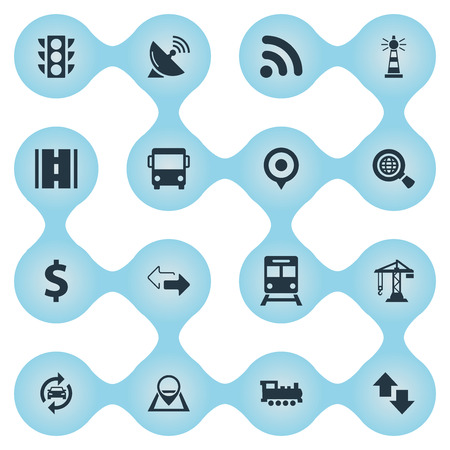 Vector Illustration Set Of Simple Transportation Icons. Elements Radar, Wifi Area, Subway And Other Synonyms Geography, Access And Location.