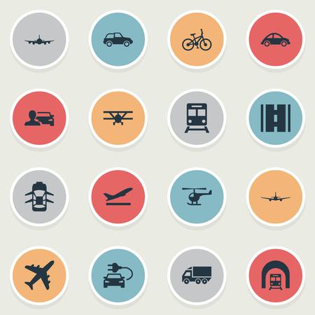 벡터 일러스트 레이 션 간단한 전송 아이콘의 집합입니다. 요소 하늘 여행, 헬리콥터, 항공 물류 및 기타 동의어 Jet, 지하철 및 튜닝.