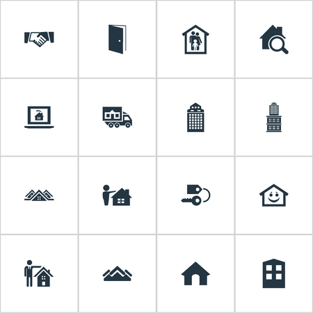 Vector Illustration Set Of Simple Real Icons. Elements Construction, Cottage, Open Door And Other Synonyms Human, Handshake And Midtown. Ilustração