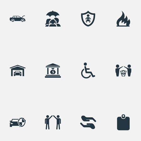 Vector Illustration Set Of Simple Fuse Icons. Elements Vehicle Assurance, Banking House, Job Accord And Other Synonyms Garage, Fire And Protection.