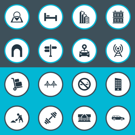 Vector Illustration Set Of Simple Public Icons. Elements Bed, Megapolis, Connection And Other Synonyms Laborer, Bed And Weight.