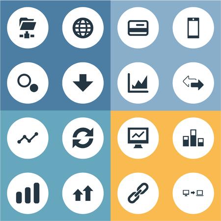 Vector illustratie Set van eenvoudige analyse iconen. Elementen Plastic geld, vooruitgang, aarde en andere synoniemen Internet, Globe en mobiele telefoon.