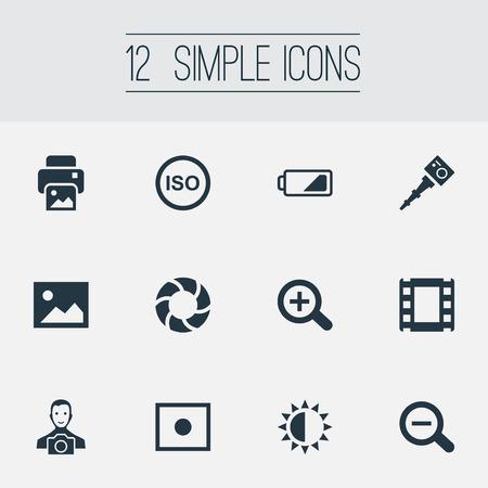 Vector illustratie Set van eenvoudige foto iconen. Elements Rustication, Registration, Film Strip And Other Synoniemen Illuminance, Portable And Registration.