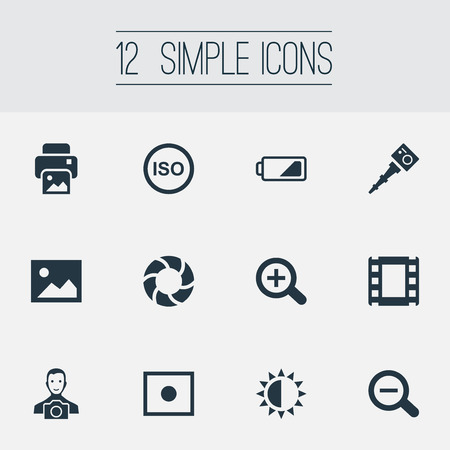 Vector Illustration Set Of Simple Photograph Icons. Elements Rustication, Registration, Film Strip And Other Synonyms Illuminance, Portable And Registration.