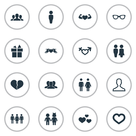 Vector Illustration Set Of Simple Couple Icons. Elements Heart In Hand, Spectacles, Lover Synonyms Broken, People And Spectacles.
