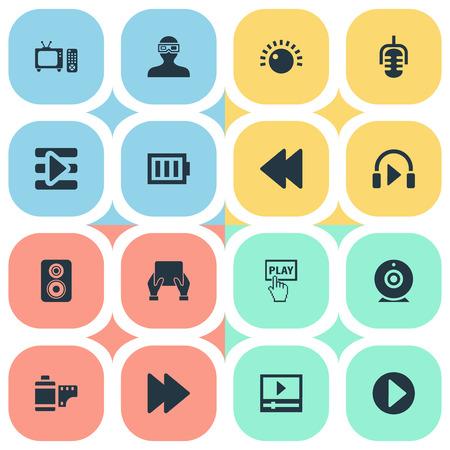 벡터 일러스트 레이 션 간단한 멀티미디어 아이콘의 집합입니다. 요소 웹 캠, 재생 목록, TV 및 기타 동의어 레코드, 배터리 및 방향.