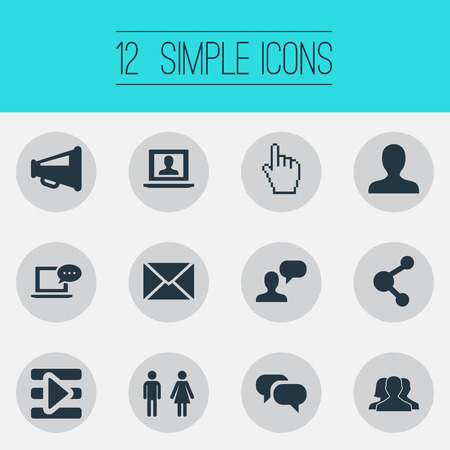 Vector Illustration Set Of Simple Social Media Icons. Elements Media Control, Genus, Profile And Other Synonyms Letter, Inbox And Unity.