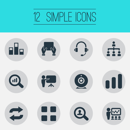 Vector Illustration Set Of Simple Training Icons. Elements Repeat, Tablet, Search And Other Synonyms Training, Reload And Communication. Illustration
