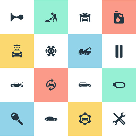 Vector Illustration Set Of Simple Vehicle Icons. Elements Snowflake, Motorcar, Vehicle Building And Other Synonyms Hatchback, Winter And Motorcar.