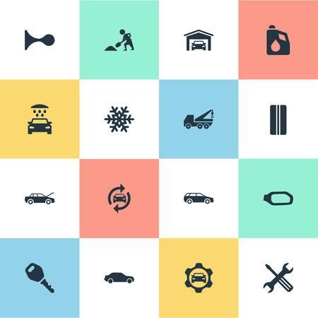 Vector illustratie Set van eenvoudige voertuig pictogrammen. Elements Snowflake, Motorcar, Vehicle Building en Other Synoniemen Hatchback, Winter And Motorcar.