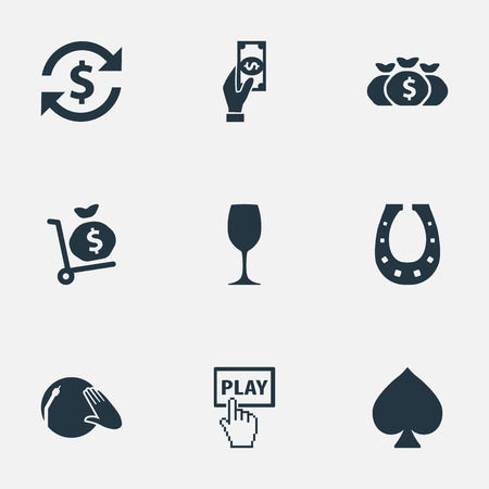Vector Illustration Set Of Simple Casino Icons. Elements Click, Door Decoration, Money Sack And Other Synonyms Coin, Shoe And Drink. Ilustrace