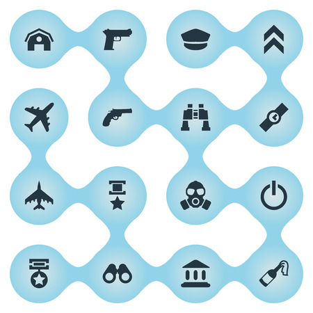 벡터 일러스트 레이 션 간단한 전투 아이콘의 집합입니다. 요소 추적 평면, 리볼버, 항공기 및 기타 동의어 화재, 재판소 및 비행기.